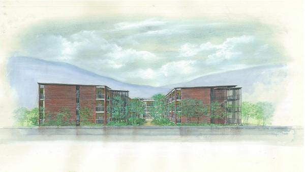 完成予定建物東側正面図